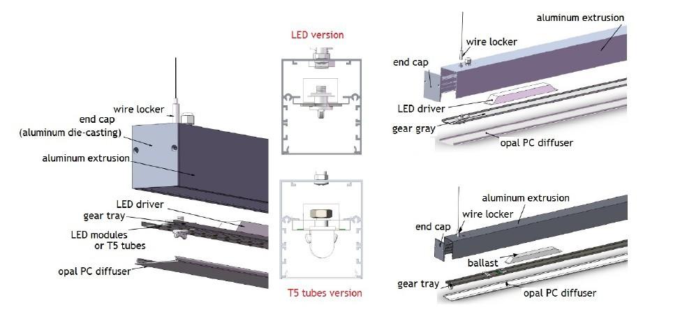 Euro quality aluminum profile pendant office led linear lighting ...