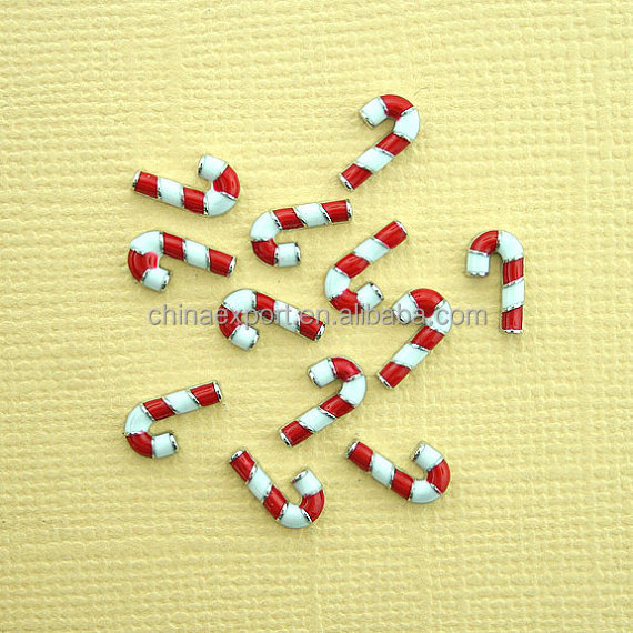 Hot Sale Candy Cane Christmas Floating Charms For Memory Lockets
