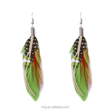 New design indian multicolor feather bead bohemia earring
