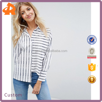 OEM fashionable stripe long sleeve blouse,high quality women blouse shirt