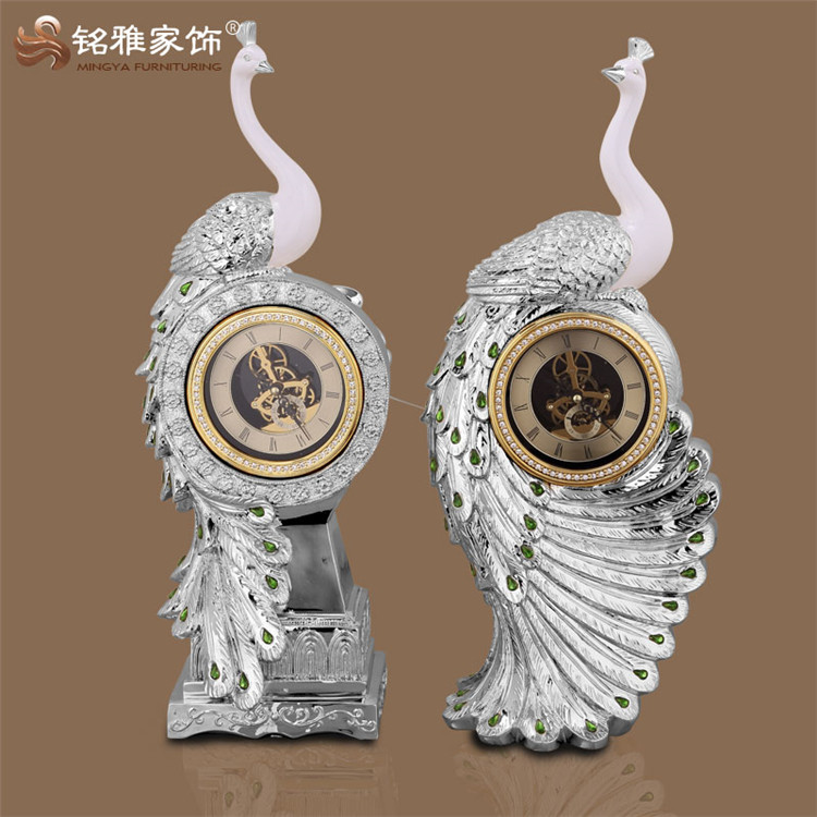Gorgeous home decorative craft used animal statue polyresin peacock staute with clock