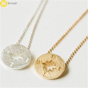 Boho Unique Accessories Vintage Stereo Compass Necklaces Nautical Jewelry Simple Round Choker Necklace