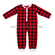 wholesale children's boutique longsleeve clothing with black red grid casual style baby romper