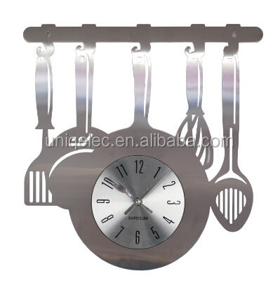 Unique metal kitchen wall clock decoration for home
