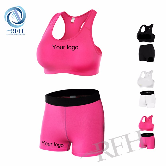 compression gym suit sexy wear custom wholesale ladies shorts sports bra + shorts Fitness Gym Yoga wear