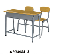 2-seater wooden old school library furniture for sale, combo school desk and chair