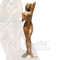 Metal Crafts Life Size Nude Lady Erotic Bronze Sculpture for Sale