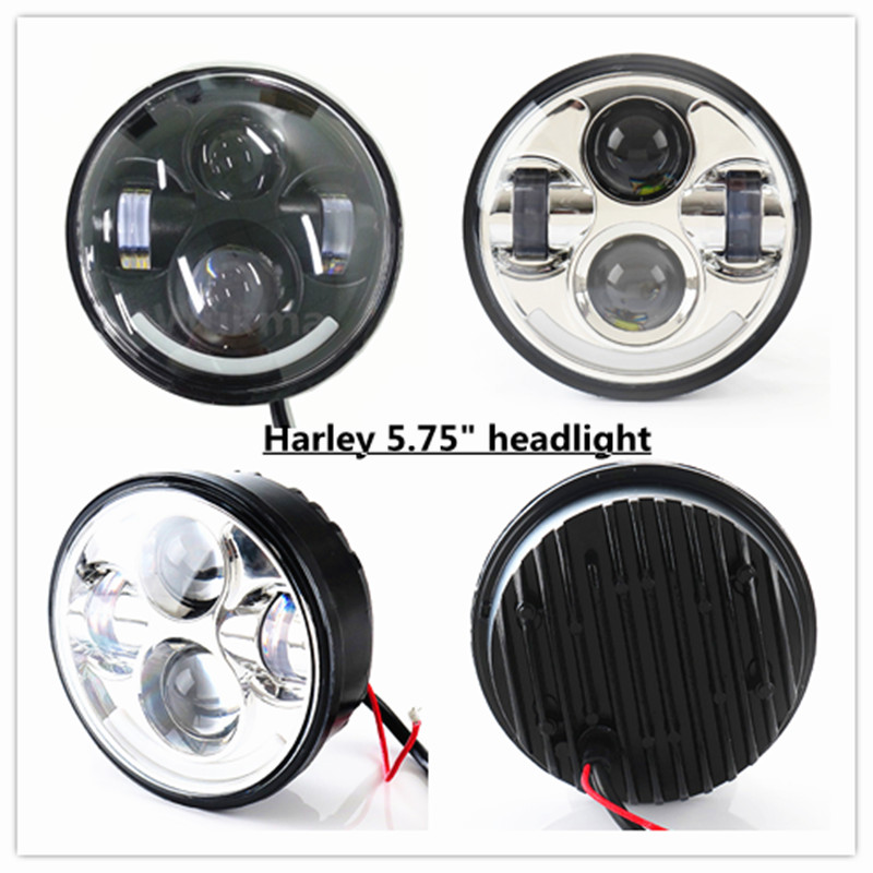 "h4 5-3/4"" 5.75 Inch Motorcycle LED Projector Headlight Lamp with DRL for Harley Glide Sportster 1200 Custom - XL1200C"