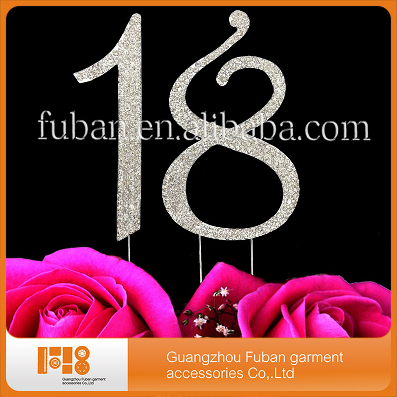 Sparking Crystal Sweet Number 18 Rhinestone Cake Topper for Birthday Party