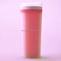 Double wall fancy plastic travel mug,thermal cup with handle