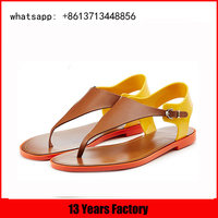 daily female flat sandals for women more color upper buckle rivet sexy instep Flip Flop flat thong sandal