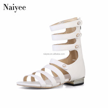 2018 Wholesale cheap casual zipper gladiator sexy women ankle strap flat sandals