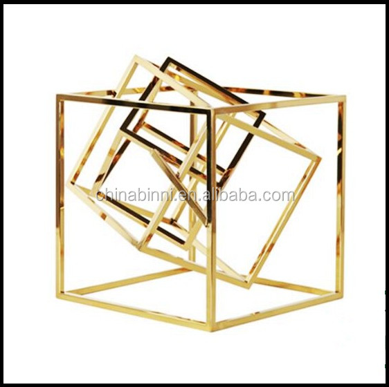 Custom Modern Metal Art Craft Abstract Square Design With Gold Home Decor Ideas For Bedroom Hotel Guest Room Decorating Items
