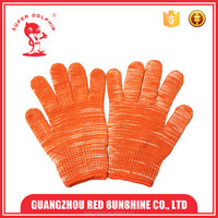 Orange cotton knitted gloves warm hand gloves