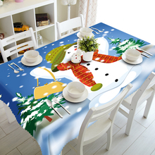 Wholesale Cartoon Cute 3D Printing 100% Polyester Christmas Table Cloth , Tablecloth With Snowman