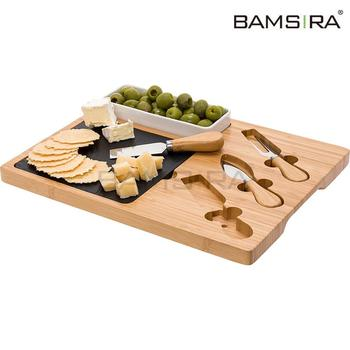 Bamboo Cheese Board with Cutlery Knife Set/Bamsira_Factory