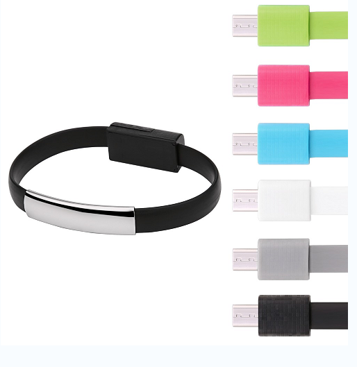 Colorful data line Portable wrist Bracelet Magnet sync charging Micro USB Cable power bank chargers USB cables for Android phone