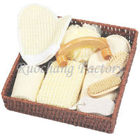 Professional Natural Basket Bathroom Items With Bath Mitt