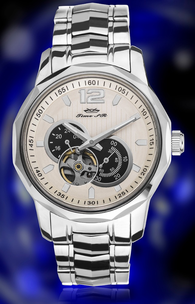 Luxury custom logo stainless steel with wolfram mens watch