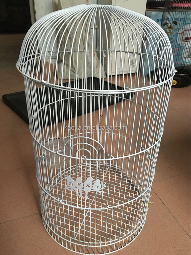 HOT SALE wholesale bird cages for sale cheap white birds and words logo round bird cage GuangDong factory