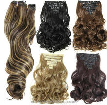 50 cm 7pcs/set Natural Hairpieces Hair Piece Wavy Curly Synthetic Clip In Hair Extentions