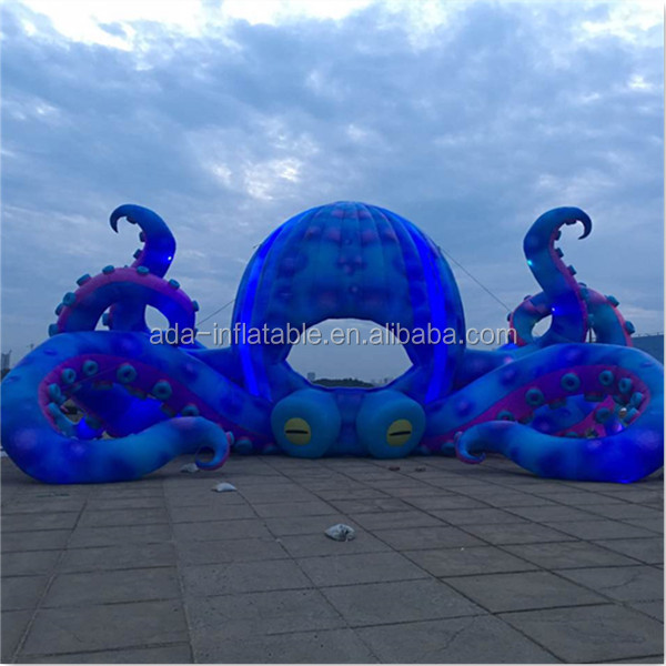 Amazing Christmas / Valentine's Day Event Stage Inflatable Giant Blue Octopus Animal 13m For Outdoor A