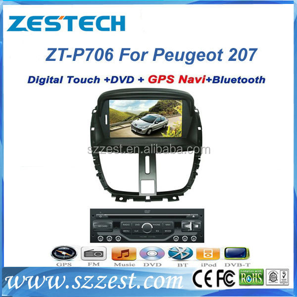 ZESTECH dvd gps 2 din touch android wifi bluetooth car gps for Peugeot 207 car gps navigator mp3 player digital TV