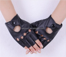 Fashion PU Half Finger Driving Show Jazz Women Gloves Fingerless Gloves For Women Black