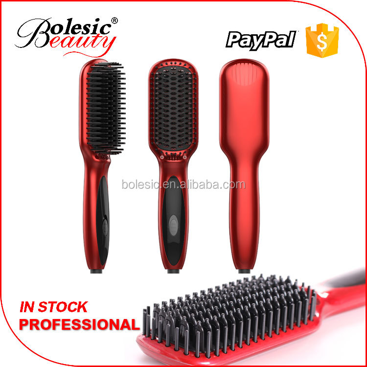 2016 Free Sample Private Label Best Selling Electric Straightener Brush Beauty Salon Equipment Top 10 Hair Straightening Comb