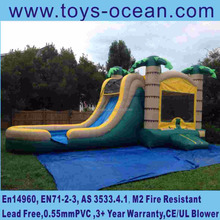 inflatable palm jungle bouncer jumps with water slide combo