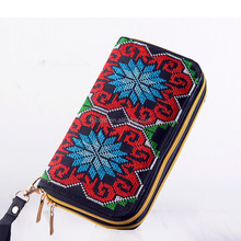 Special National Custom Women Embroidered wallet with two zipper purified handmade