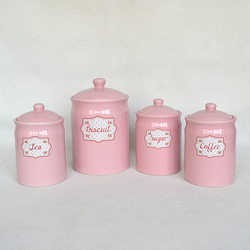 Pink ceramic storage container sets biscuit tea sugar and coffee jars
