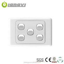 Factory Sale Brand 5 Gang 2 Way Australia Thin Wall Switch