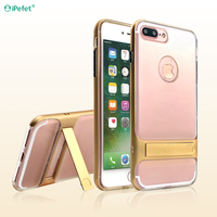 iPefet Transparent clear metal texture bumper phone cover with stand for iPhone 7 cell phone accessory