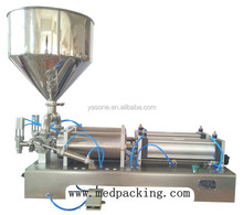 Factory price semi automatic double liquid water nozzles sauce paste cream honey cream filling machine for plastic bottles