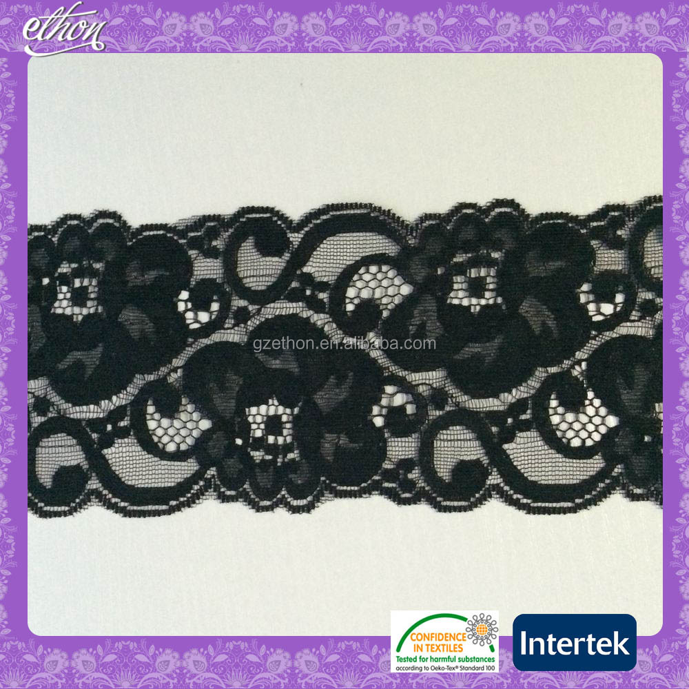 black 100 nylon knitted fancy lace ribbon for lingerie
