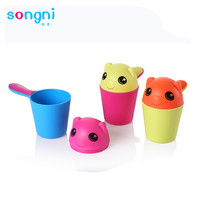 Cartoon Scoop Safety Kids Bathroom Toys Shower Shampoo Rinse Cup