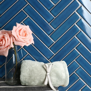 Global glaze new product dark blue royal villa hotel ceramic bathroom herringbone wall tile