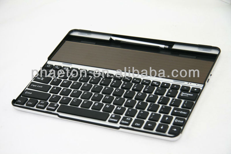Solar Panel Charger Aluminum Bluetooth Wireless Keyboard Case for ipad 2 New ipad 3 4 Stand popular in Europe