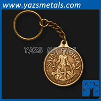customize metal retro keychian coins of patron saint with antique gold plating