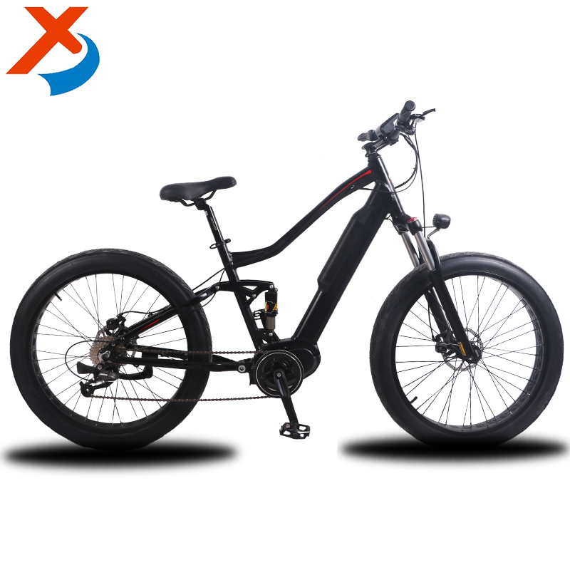 "26"" inch no folding Bafang middle motor hidden battery electric snow bike, fat tire electric bicycle"