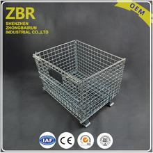 with Skidproof Button Galvanized Warehouse Collapsible Iron Durable Stacking Wire Mesh Cage
