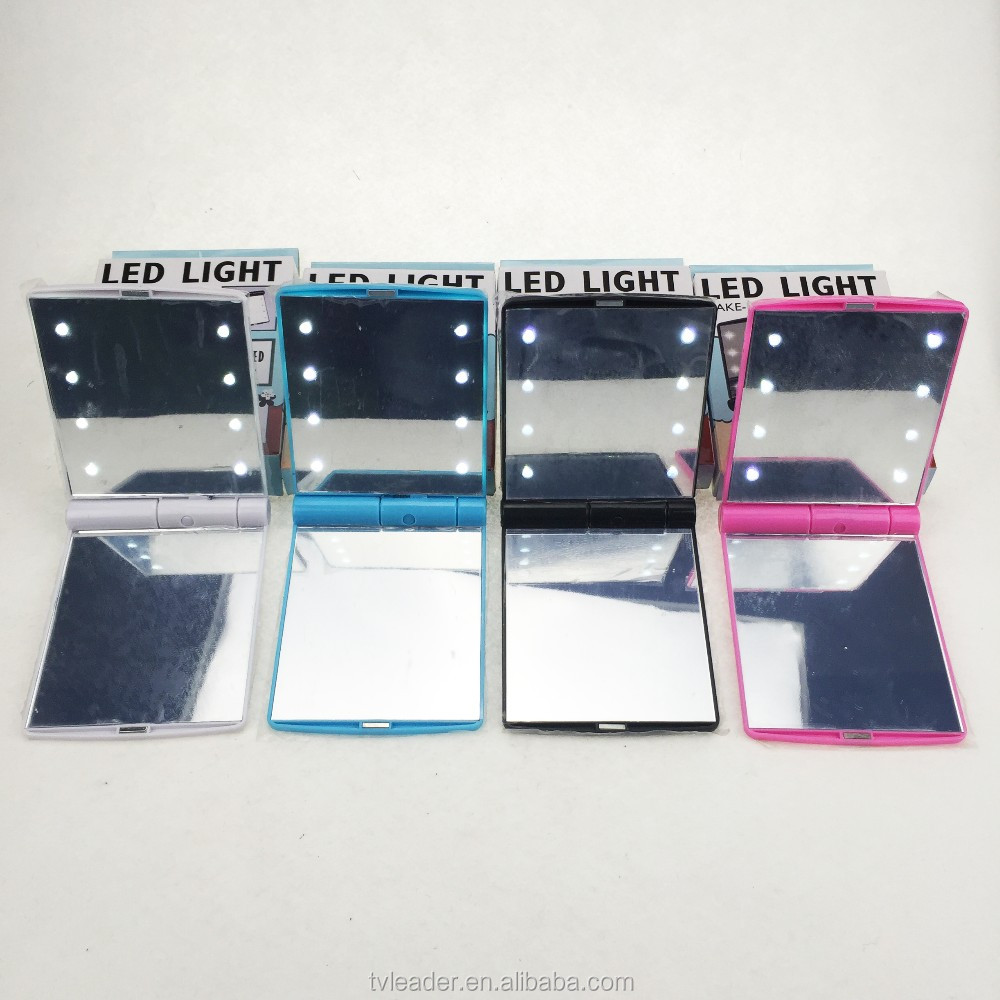 As seen on TV Square makeup mirror plastic frame mirror LED lighted Travel Pocket Makeup Mirror