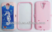 2 in 1 Rubber Hard & Silicone Case For Samsung Galaxy S4 i9500, PC & Silicon combo design with holster clip