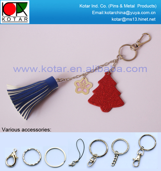custom fashion handbag keyring with transparent enamel metal pendant