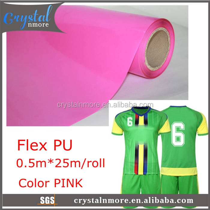 PU vinyl Heat Transfer Pink Iron On Film Roll
