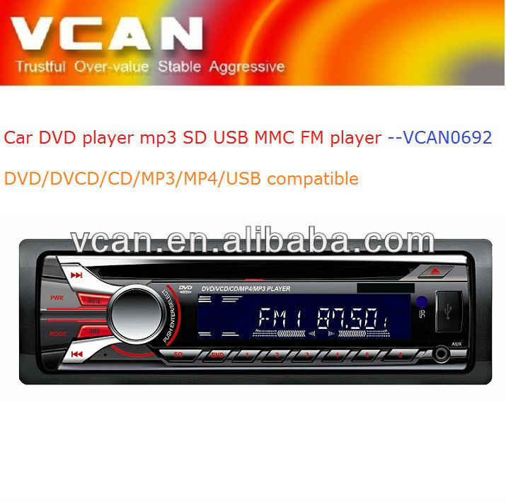 car stereo with sd card reader/ one din car DVD player mp3 FM USB SD MMC card player