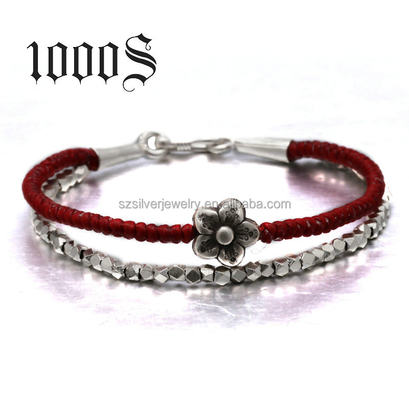 925 Sterling silver bead wrap bracelet with Wax rope