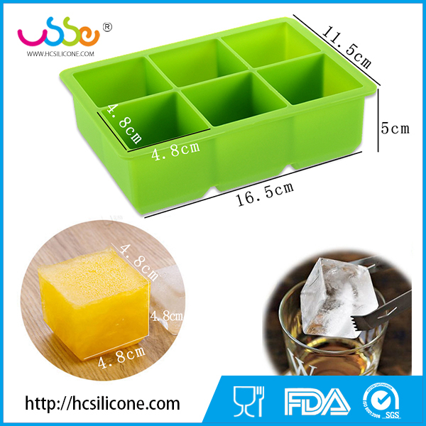 Wholesale silicone Large Ice Cube Tray, Ice Mold, Make 6 Piece Jumbo Ice Cube For Cool Drinks (green)