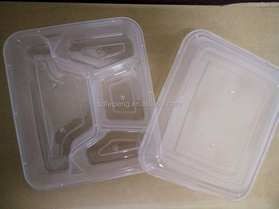 5-compartment disposable plastic PP microwave safe food container
